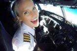 María Fagerström en los controles de un avión