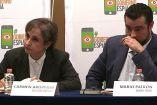 Carmen Aristegui y Mario Patrón en conferencia de prensa sobre el informe #GobiernoEspía