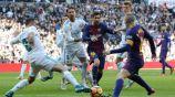 Carvajal, Ramos, Messi e Iniesta, en el Clásico Español