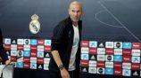 Zidane en una rueda de prensa del Real Madrid