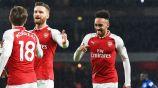 Aubameyang festeja su primer gol con el Arsenal