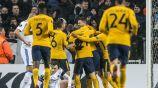 Jugadores del Atleti en festejo al marcar frente a Copenhague