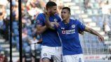 Cata Domínguez festeja su gol contra Puebla en la cancha del Azul