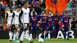 Umtiti celebra con Paulinho su gol contra Valencia