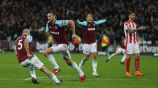 West Ham, en festejo tras anotar frente al Stoke City