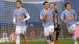 Héctor Moreno celebra un gol con la Real Sociedad