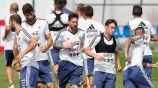 Jugadores de Argentina, en un entrenamiento
