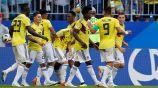 Jugadores de Colombia celebran gol contra Senegal