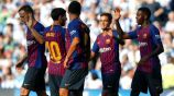 Jugadores del Barça festejan un gol contra la Real Socidad