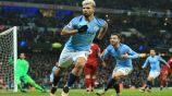 Sergio Agüero festeja gol con Manchester City