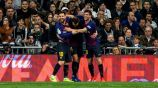 Messi y Sergi Roberto festejan con Rakitic su gol vs el Real Madrid