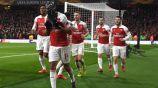 Aubameyang celebra un tanto en la Europa League