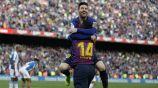 Messi festeja con Malcom su segundo gol vs el Espanyol