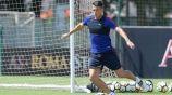 Moreno en entrenamiento con la Real Sociedad