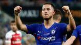 Eden Hazard festeja un gol con el Chelsea