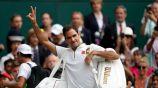 Roger Federer festeja en Wimbledon