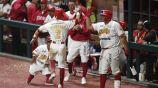 Jugadores de Diablos Rojos, en festejo durante partido