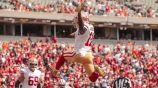 El WR de 49ers, Marquise Goodwin, festejó así su anotación ante los Bengals
