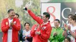 Enrique Peña Nieto tras la carrera Molino del Rey el año pasado