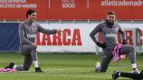Héctor Herrera, en la práctica del Atlético