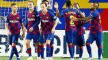 Jugadores del Barcelona, tras marcar al Leganés