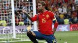 Sergio Ramos celebrando un gol con España