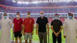 Gianni Infantino en su visita al estadio Al Bayt