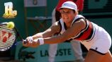 Monica Seles durante un partido de tenis