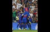 Barcelona festeja gol de la victoria en el Bernabéu