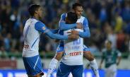Ariel Rojas festeja su gol contra León