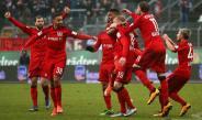 Jugadores del Bayer Leverkusen celebran el gol frente al Darsmstadt