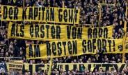 La pancarta de la afición del Dortmund