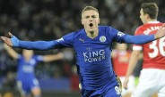 Vardy celebra un gol con el Leicester