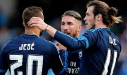 Jugadores del Real Madrid celebran gol