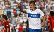 Nicolás Castillo celebra un gol con la Universidad Católica