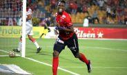 Arango, festejando una anotación con Independiente de Medellín