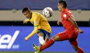 Neymar, durante un partido con la selección de Brasil
