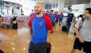 Messi en el aeropuerto de la Ciudad Condal