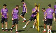 Futbolistas del Real Madrid, en un entrenamiento