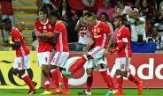 Jiménez festeja el tercer gol del Benfica