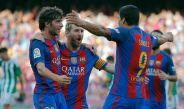 Los jugadores culés, celebrando uno de los 6 goles contra Betis