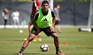 Cándido Ramírez durante el entrenamiento de la selección nacional de México