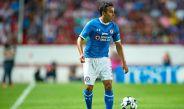 Omar Mendoza, durante el partido entre Cruz Azul y Necaxa en el A2016