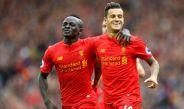 Coutinho y Sadio Mane festejan gol del Liverpool