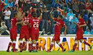 Jugadores del Toluca festejan un gol contra Cruz Azul