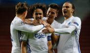 Jugadores de Copenhague festejan uno de sus goles contra Brujas