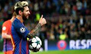 Lionel Messi después de anotar tres goles en la Champions League