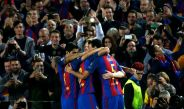 Los jugadores del Barcelona celebran un gol en Champions League