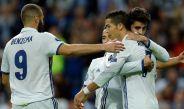Los jugadores del Real Madrid celebrando una anotación en Champions League