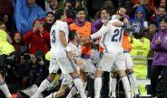 Morata festeja con sus compañeros su gol contra el Athletic de Bilbao